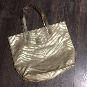Michael Kors Gold Zebra Print Tote Bag